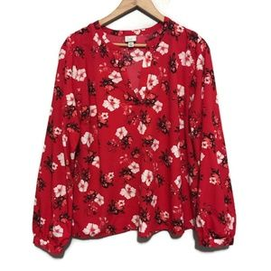 A New Day Red Floral Long Sleeve V-Neck Blouse
